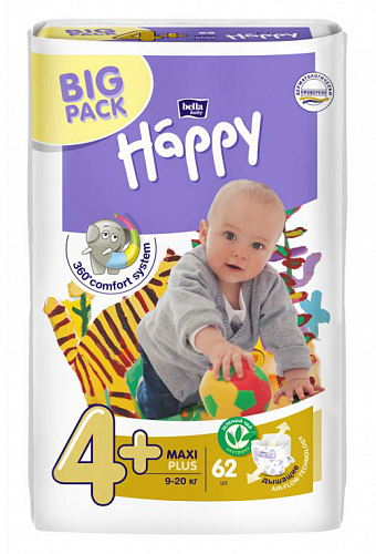 Подгузники Bella Baby Happy 4+ Maxi Plus (62 шт.)